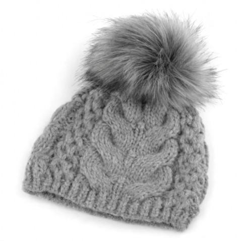 Zimná pletená čiapka s brmbolcom - šedá