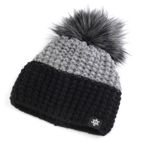 Zimná čiapka s brmbolcom - čiernošedá