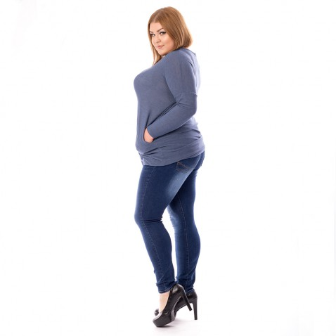 XXL Dámske jeans tmavo modré so zirkónmi