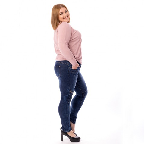 XXL Dámske jeans tmavo modré - Knee