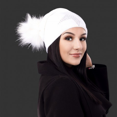 Dámska čiapka s bambulkou Silver star - biela