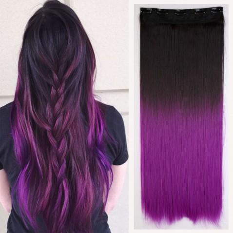 Clip in vlasy - rovný pás - ombre - odtieň 2/30 T Purple