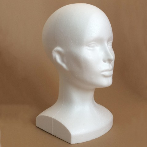 Polystyrénová hlava 32 cm s menším podstavcom