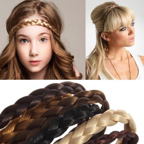Čelenka do vlasov - pletený vrkoč - elastická - výber odtieňov
