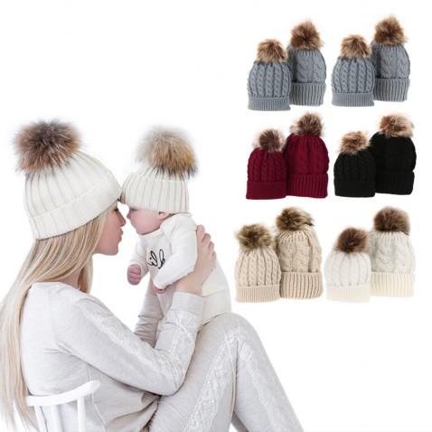 Zimná čiapka pre mamičku a bábätko