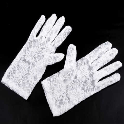 Spoločenské rukavice 21 cm čipkované