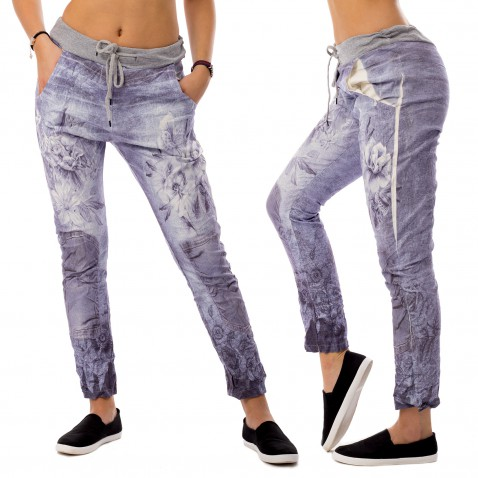 Dámske plátené baggy jeans Flowers