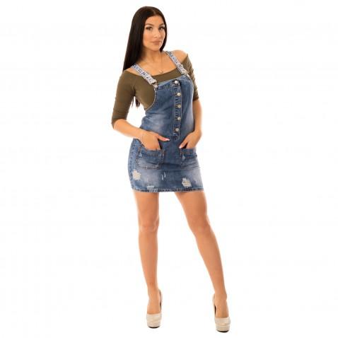 Dámske jeans šaty s traky