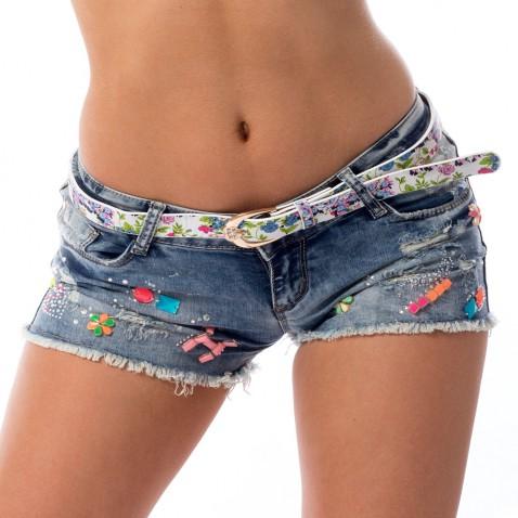 Dámske jeans kraťasy zdobené kamienkami a trhaním