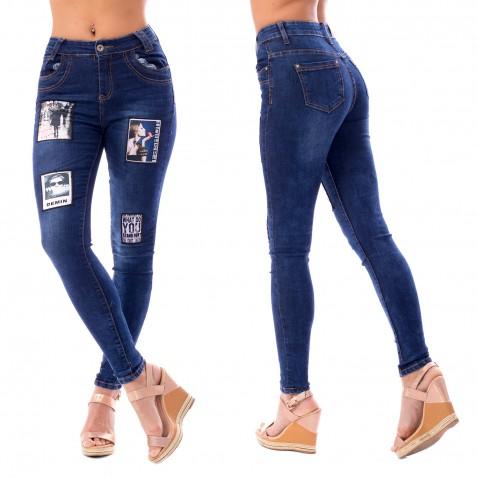 Dámske jeans s nášivkami - Fashion