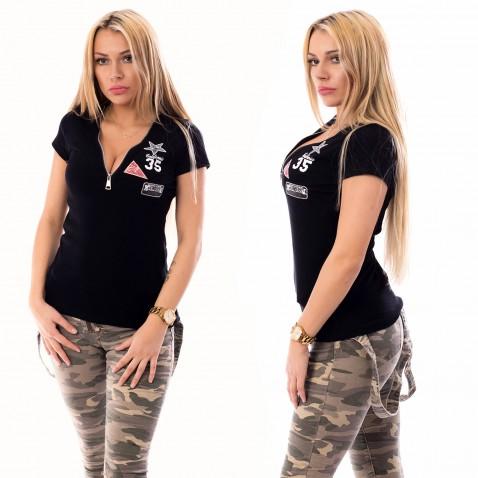 Dámske tričko so zipsovým výstrihom - čierne