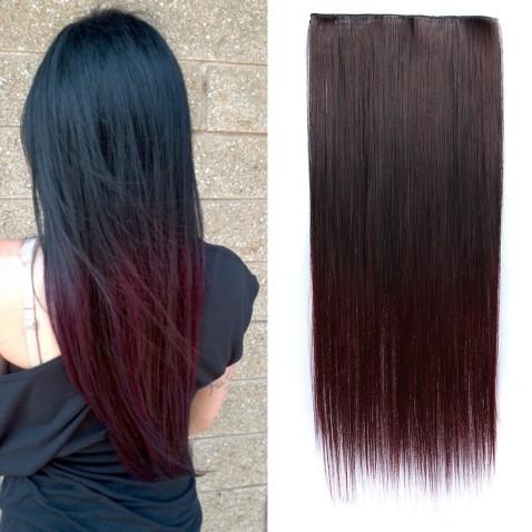 Clip in vlasy - rovný pás - ombre - odtieň Black T 99J