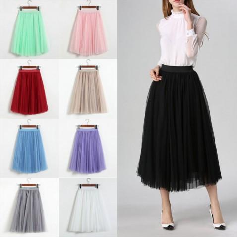 Dámska tylová tutu sukne - dlhá