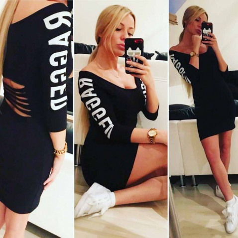 Dámske elastické šaty RAGGED - čierne