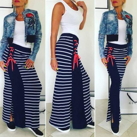 Dámska pruhovaná sukňa - Navy Rose