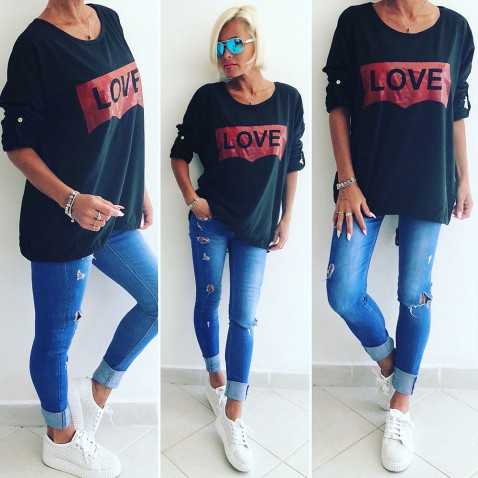 Dámska mikina Love - čierna