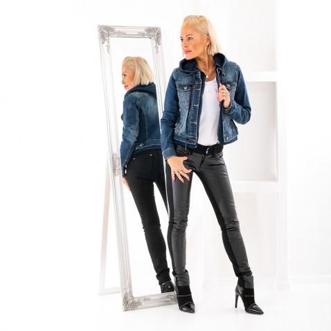 Dámska jeans bunda s kapucňou