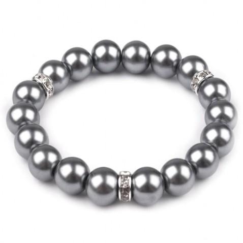 Pružný náramok z perál - šedá perleť
