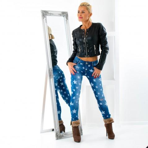 Dámske jeans s hviezdami a trhaním na kolenách