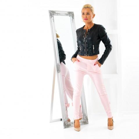 Dámske legínové nohavice so zipsom a mašľou - ružové