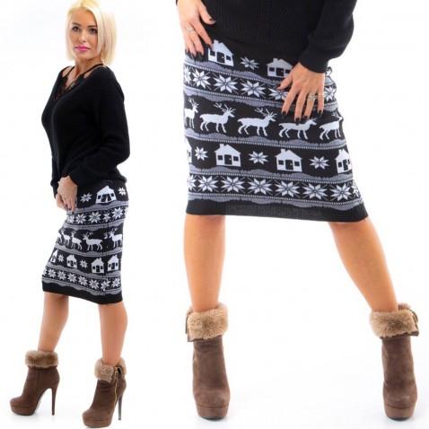 Čierna úpletová sukňa so zimnými motívmi
