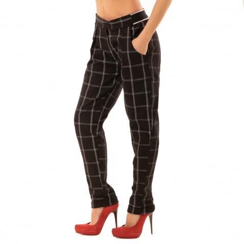 Elegantné kárované nohavice s lemom