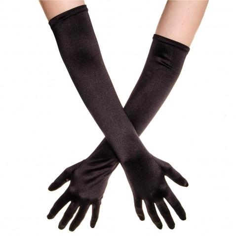 Spoločenské saténové rukavice 45 cm - čierne