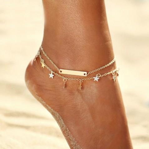 Dvojitý náramok na nohu Star