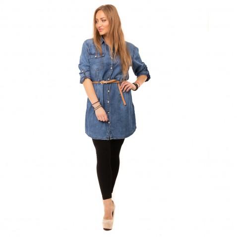 Košeľová jeans tunika k legínam - modrá
