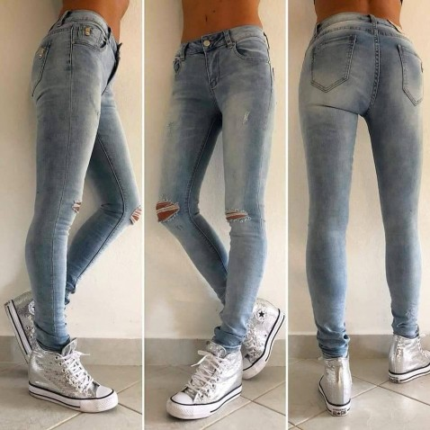 Slim jeans s dierami na kolenách