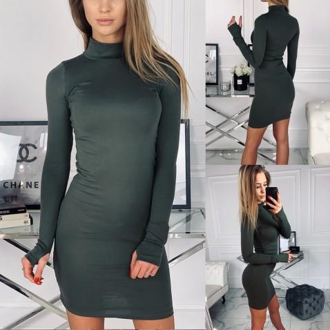 Dámske elastické šaty Golf - khaki