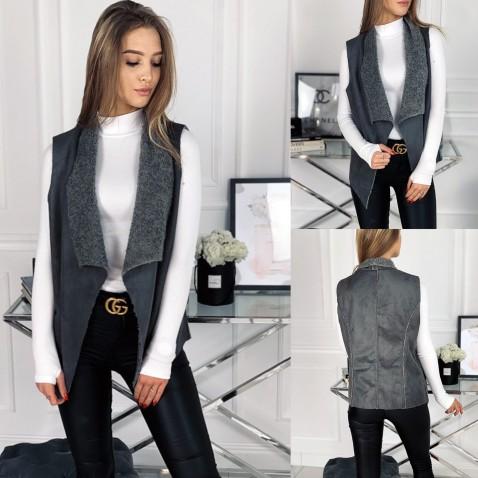 Moderná Faux-Suede kožušinová vesta