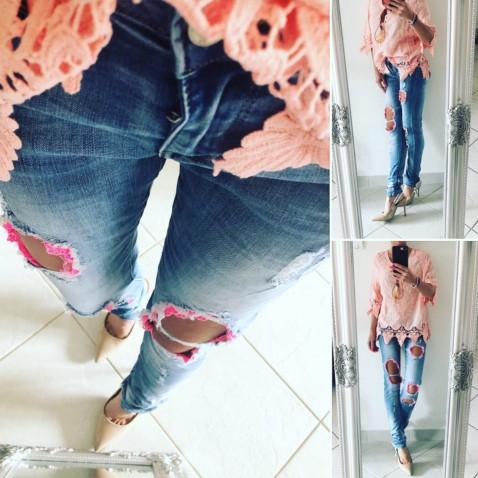Slim jeans s čipkou - Pinky