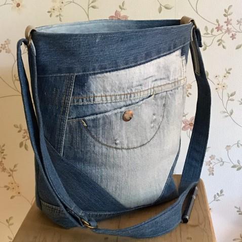 Džínsová taška s vreckom