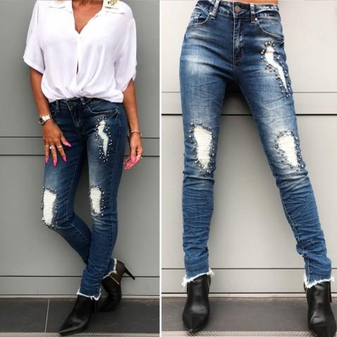 Tmavomodré jeans s perličkvou aplikáciou
