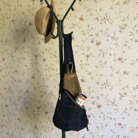 Džínsový crossbody batôžtek s popruhom