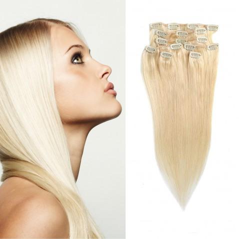 Clip in vlasy 55 cm ľudské - Remy 70g - odtieň 613 - blond