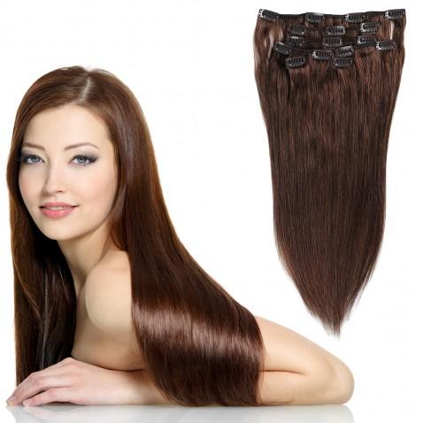 Clip in vlasy 55 cm ľudské - Remy 70g - odtieň 4 - stredne hnedá