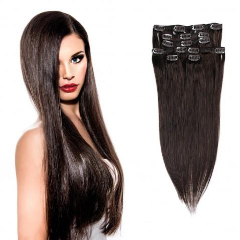 Clip in vlasy 55 cm ľudské - Remy 70g - odtieň 2 - tmavo hnedá
