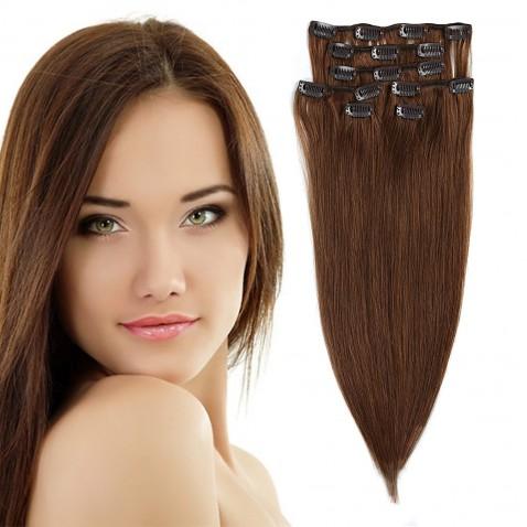 Clip in vlasy 55 cm ľudské - Remy 70g - odtieň 6 - svetlo hnedá