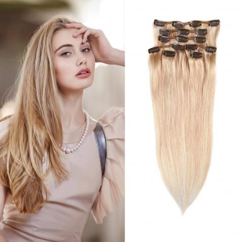 Clip in vlasy 55 cm ľudské - Remy 70g - odtieň 27/613 mix blond