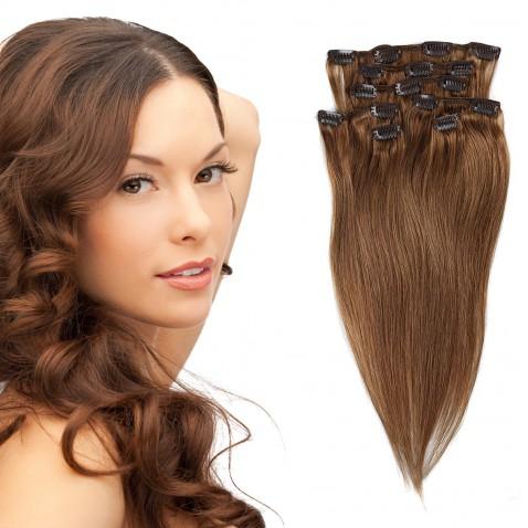 Clip in vlasy 55 cm ľudské - Remy 70g - odtieň 8 - svetlo hnedá
