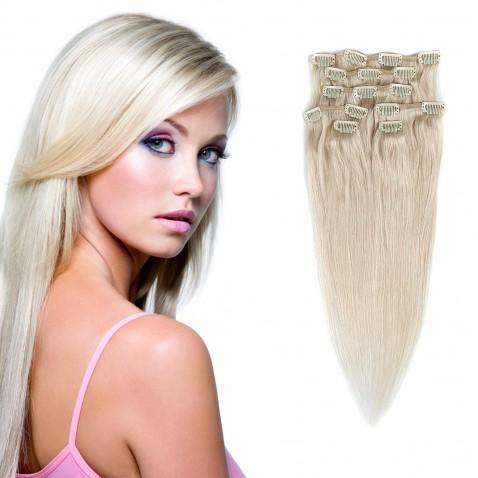 Clip in vlasy 55 cm ľudské - Remy 70g - odtieň 60 - platinová blond