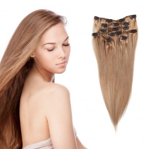 Clip in vlasy 55 cm ľudské - Remy 70g - odtieň 27 - plavá