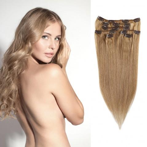 Clip in vlasy 55 cm ľudské - Remy 70g - odtieň 12 - zlatavo hnedá