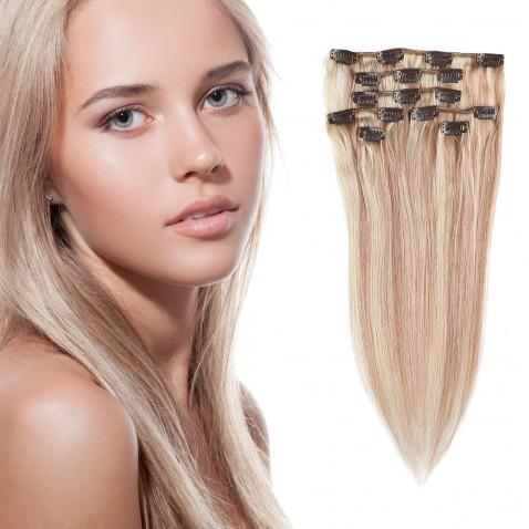 Clip in vlasy 55 cm ľudské - Remy 70g - odtieň 18/613 - svetlý melír
