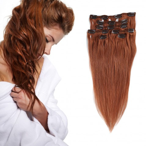 Clip in vlasy 55 cm ľudské - Remy 70g - odtieň 30 - gaštanová