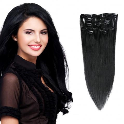 Clip in vlasy 55 cm ľudské - Remy 70g - odtieň 1# - uhľovo čierna