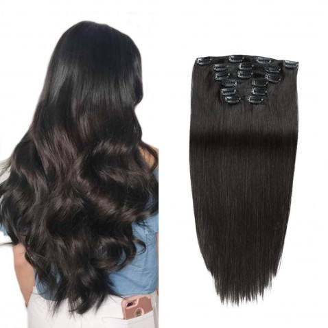 Clip in vlasy 55 cm ľudské - Remy 70g - odtieň 1B - prírodna čierna