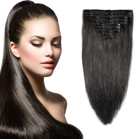Clip in vlasy 51 cm 100% ľudské - Remy 100 g - odtieň 1B - prírodna čierna